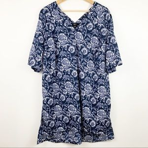 Ellos Floral Tunic Top Plus 22 Navy Blue White